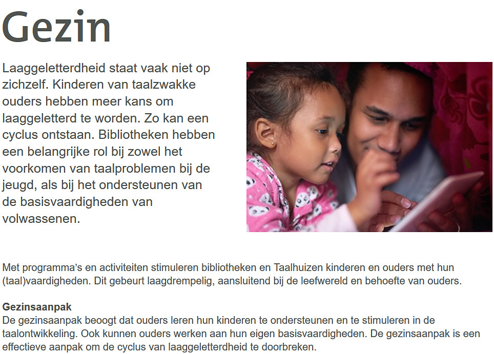 schermafbeelding pagina Gezinsaanpak